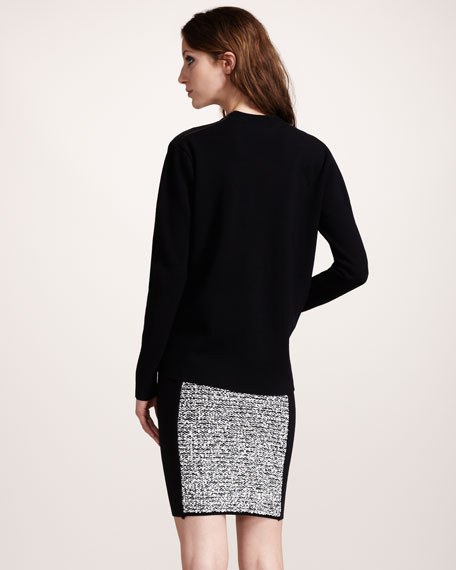 Rubberized Tweed Pencil Skirt