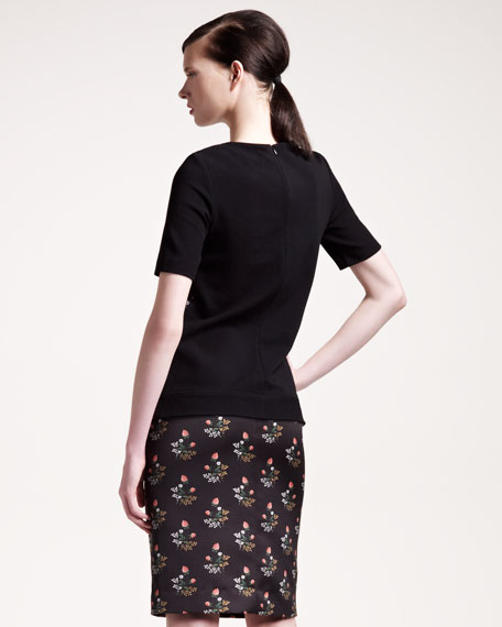 Floral-Print Satin Pencil Skirt