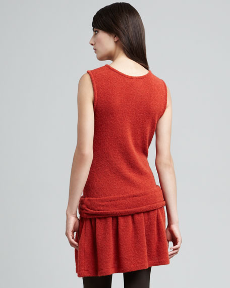 Twisted-Hip Natty-Knit Dress