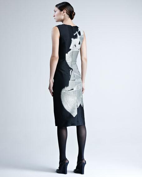 Abstract-Print Jacquard Dress