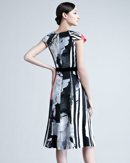 Cap-Sleeve Printed Silk Dress