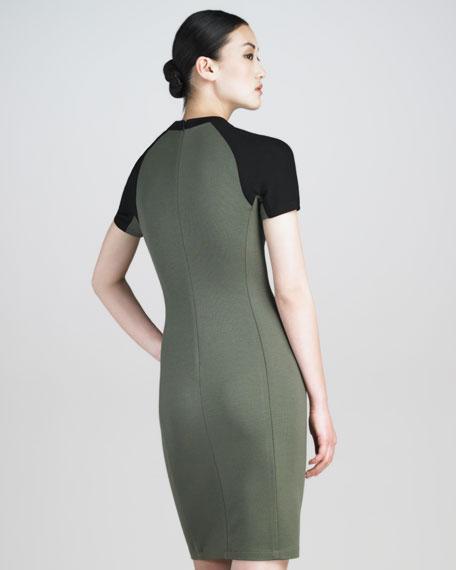Contrast-Sleeve Tech Jersey Dress