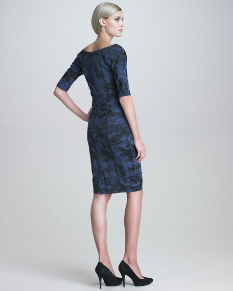 Weathered-Print Stretch Dress