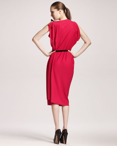 Pitt Asymmetric-Shoulder Dress, Fuchsia