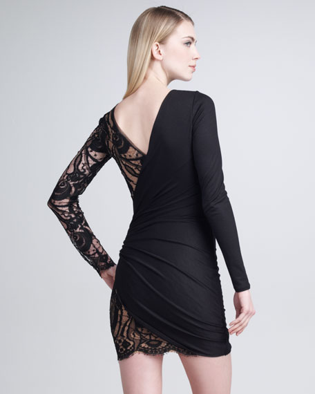 Long-Sleeve Lace-Panel Dress