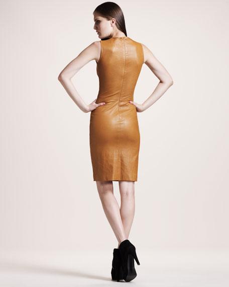 Sleeveless Stretch-Leather Dress