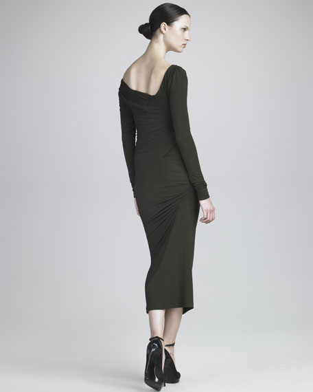 Off-Shoulder Tea-Length Jersey Dress