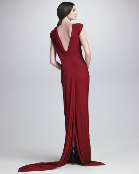 Draped Luster Jersey Gown