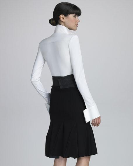 Stretch Crepe Flounce Skirt