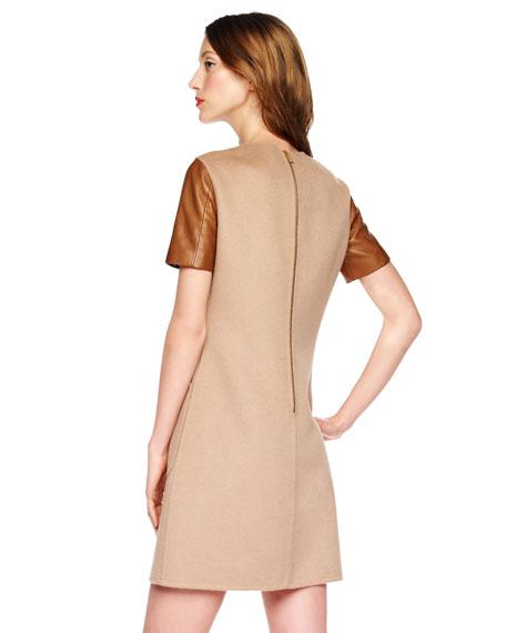 Leather-Sleeve Felt Dress