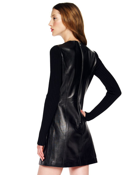 Rib-Sleeve Leather Dress