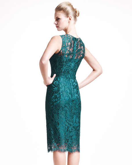 Lace Sheath Dress, Teal