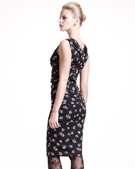 Floral-Print Ruched Dress