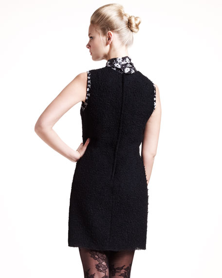 Floral-Scarf Boucle Dress