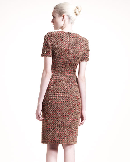 Short-Sleeve Tweed Dress