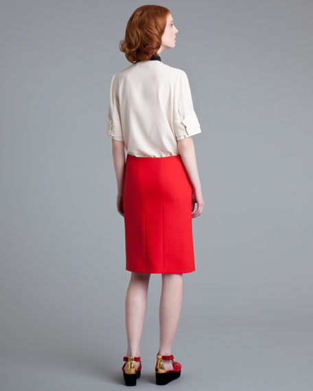 Reverse-Pleat Crepe Skirt