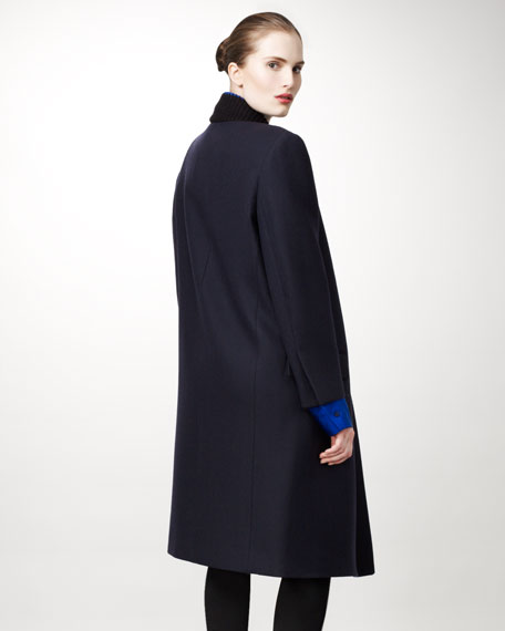 Exaggerated Varsity-Collar Coat