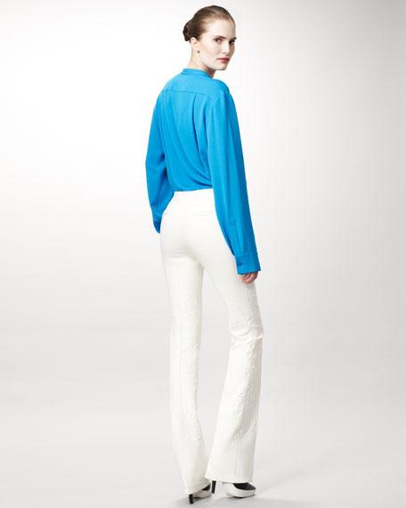 Damask Straight-Leg Pants, White