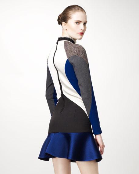 Mixed-Fabric Colorblock Dress