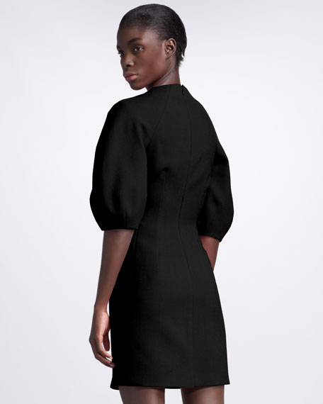 Fitted Crepe Dress, Black
