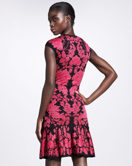 Puckered Floral Intarsia Dress