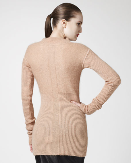 Ribbed Mock-Neck Sweater, Pumpkin