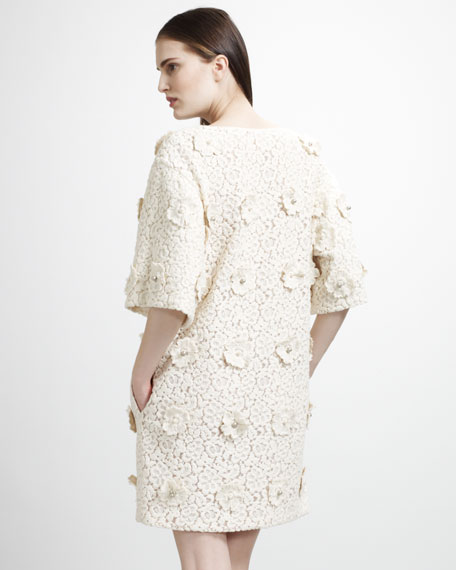 Lace Shift Dress With Floral Embroidery