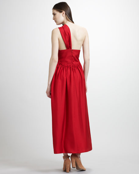 One-Shoulder Silk Twill Bow Gown