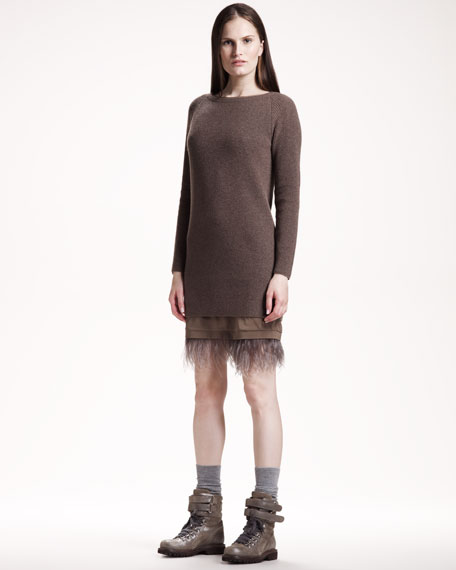 Ostrich-Hem Knit Dress
