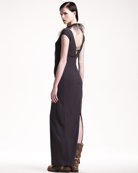 Silk Cap-Sleeve Gown