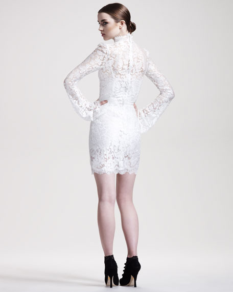Trumpet-Sleeve Lace Dress