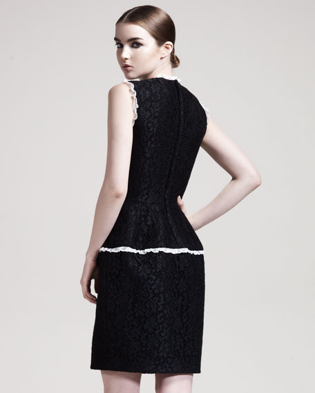 Lace-Appliqued Jersey Dress