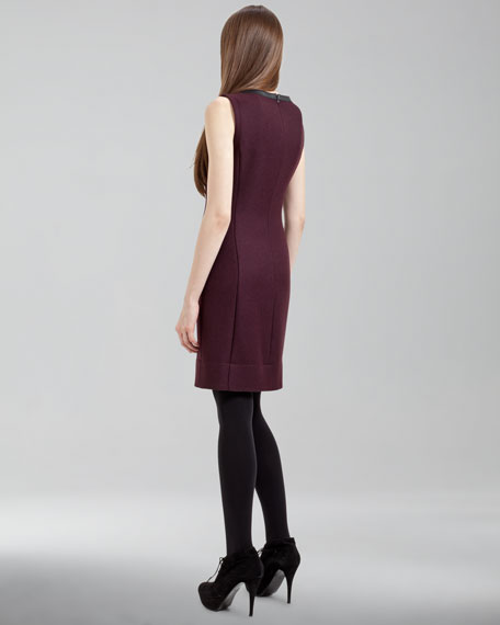 Leather-Trimmed Gabardine Dress