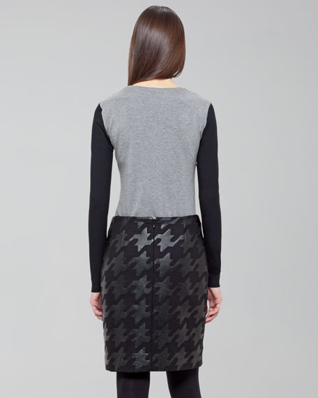 Faux-Leather Houndstooth Skirt