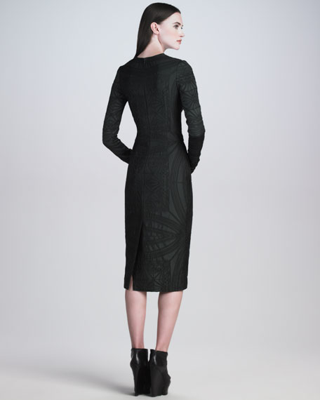 Long-Sleeve Brocade Sheath Dress
