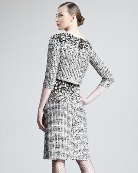 Embroidered Tweed Trompe L'Oeil Dress