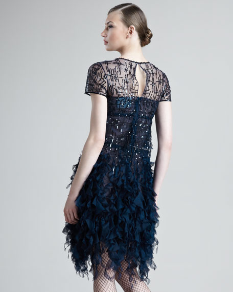 Beaded Ruffled Dress