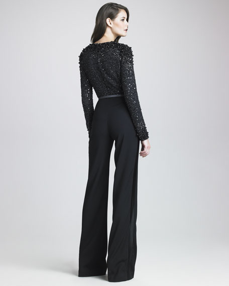 Beaded-Bodice Jumpsuit