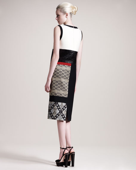 Colorblock Brocade Dress