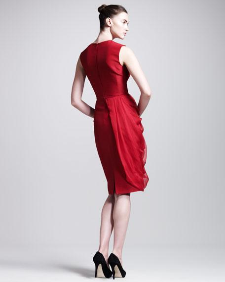Chiffon-Drape Sleeveless Dress