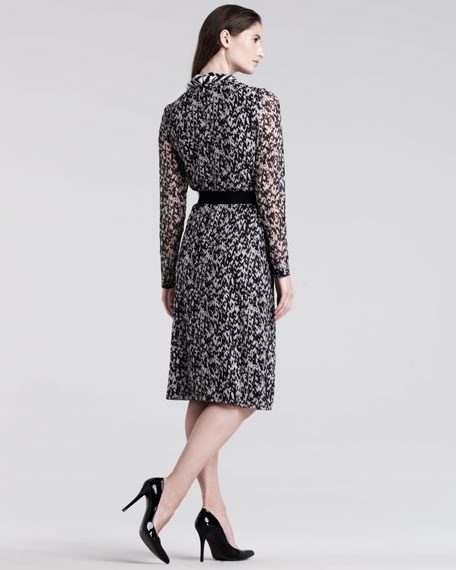 Tweed-Print Chiffon Dress