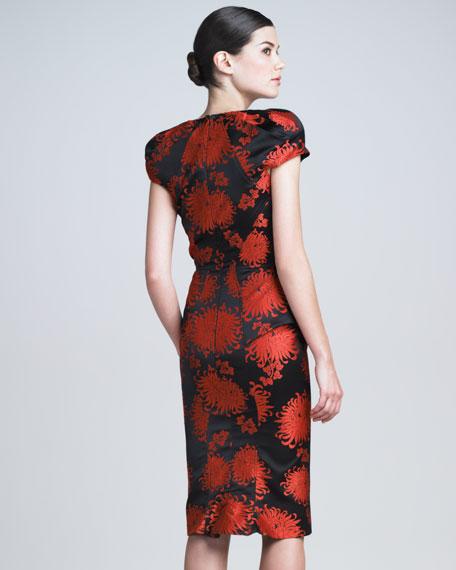 Peony Jacquard Peplum Dress