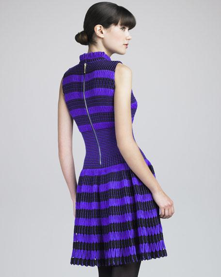 Striped Thick-Mesh Dress