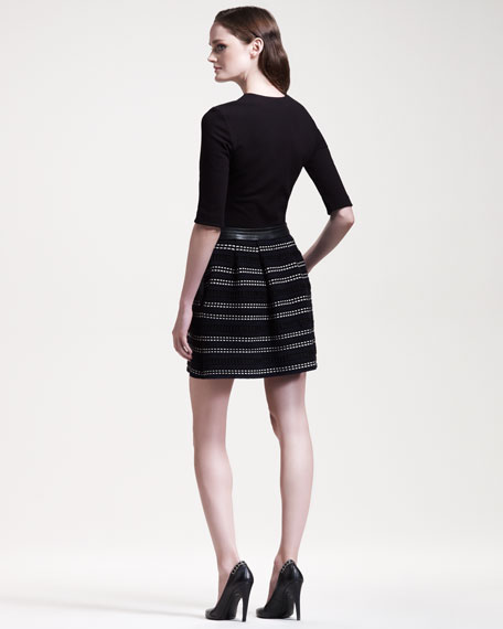 Boucle-Skirted Jersey Dress