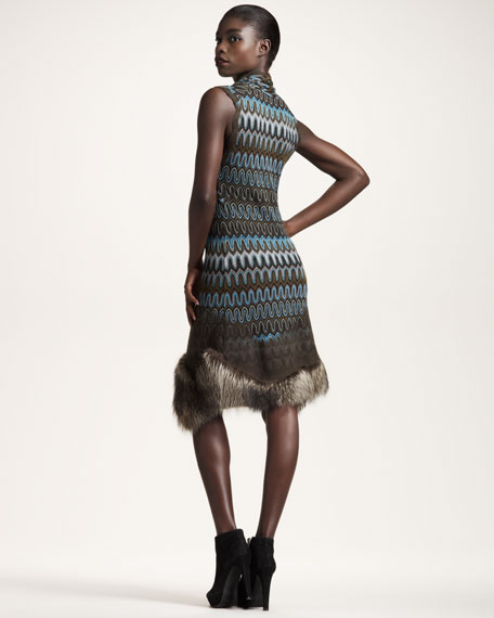 BG 111th Anniversary Fur-Hem Striped Dress