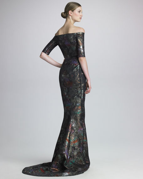 Off-Shoulder Jacquard Gown