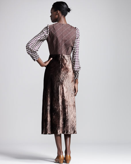 Mixed-Print Velvet-Skirt Dress