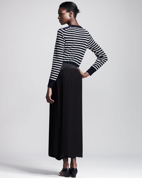 Long Pleated Georgette Skirt