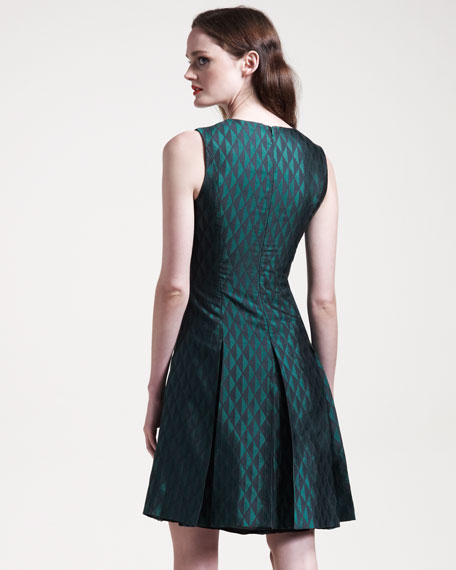 Garner Box-Pleat Jacquard Dress