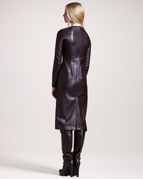 Wigston Zip-Front Leather Dress